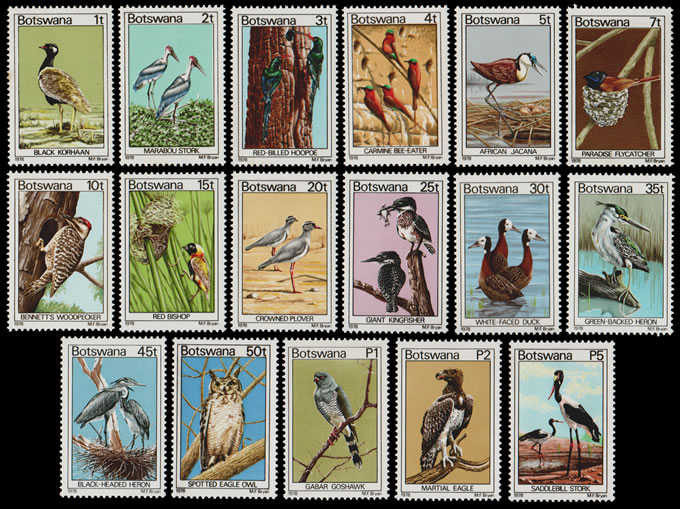 BOTSWANA 1978 BIRDS FULL SET 1T - P5 UM