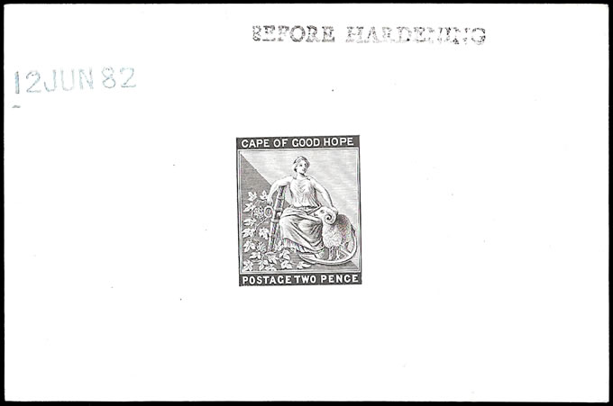 CAPE OF GOOD HOPE 1882 2D DIE PROOF BEFORE HARDENING