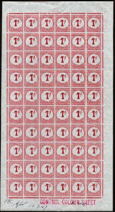 Swaziland Postage Due 1947 1d Imperf Colour Proof Sheet