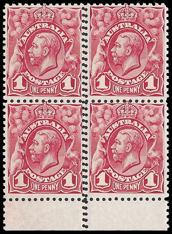 AUSTRALIA 1913 KGV 1D DOUBLE PERFORATION BLOCK