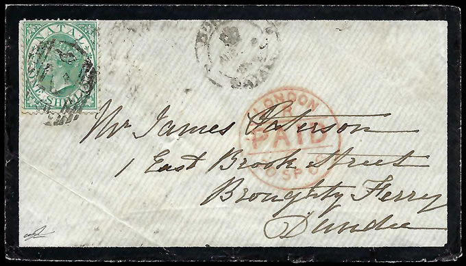 Natal 1868 QV 1/- Mourning Letter Durban to Scotland, Charming