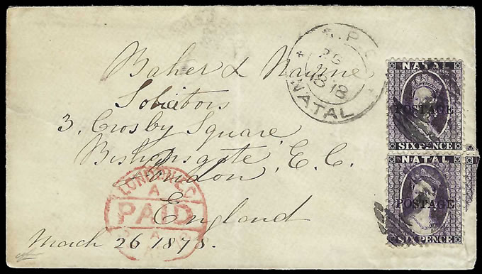 Natal 1878 Delightful QV Chalon 6d's Double Rate Letter to UK