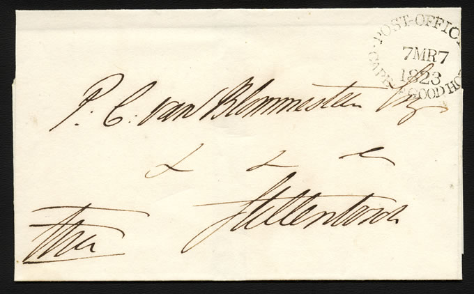 CAPE OF GOOD HOPE 1823 WRAPPER FIRST DATED LETTER STAMP