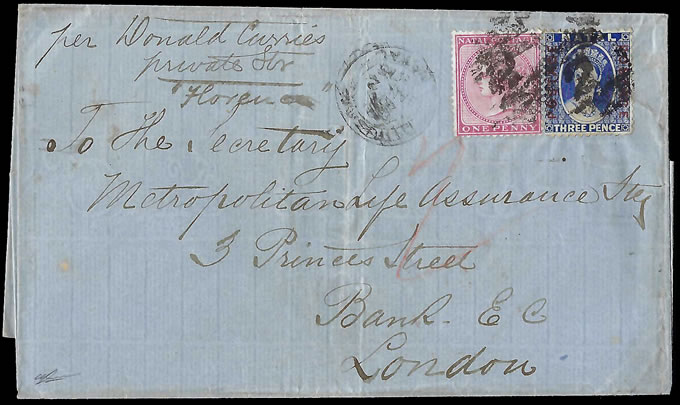 "Natal 1875 Charming Donald Currie Line Letter per ""Florence"""