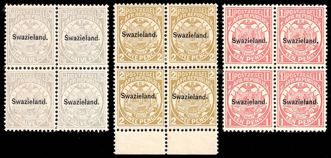 SWAZILAND 1894 OFFICIAL RE-ISSUES WITH STOP IN OVERPRINT, RARE