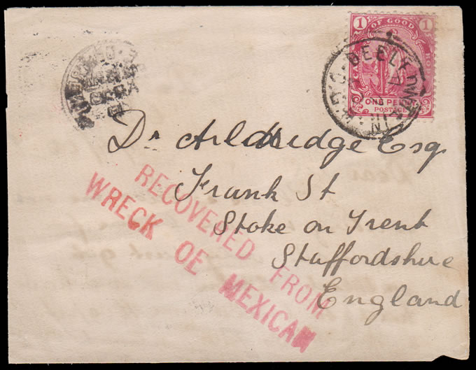 CAPE OF GOOD HOPE 1900 MEXICAN WRECK SALVAGED LETTER