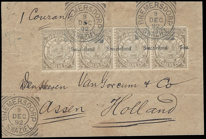 SWAZILAND 1892 ½D GREY OVPT MISPLACED, SPECTACULAR STRIP