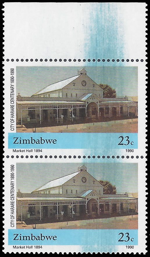 ZIMBABWE 1990 HARARE CENTENARY 23C DOCTOR BLADE FLAW