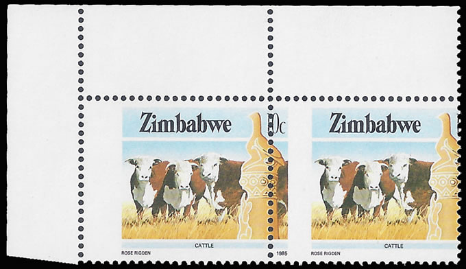Zimbabwe 1985 10c Cattle Dramatic Misperf