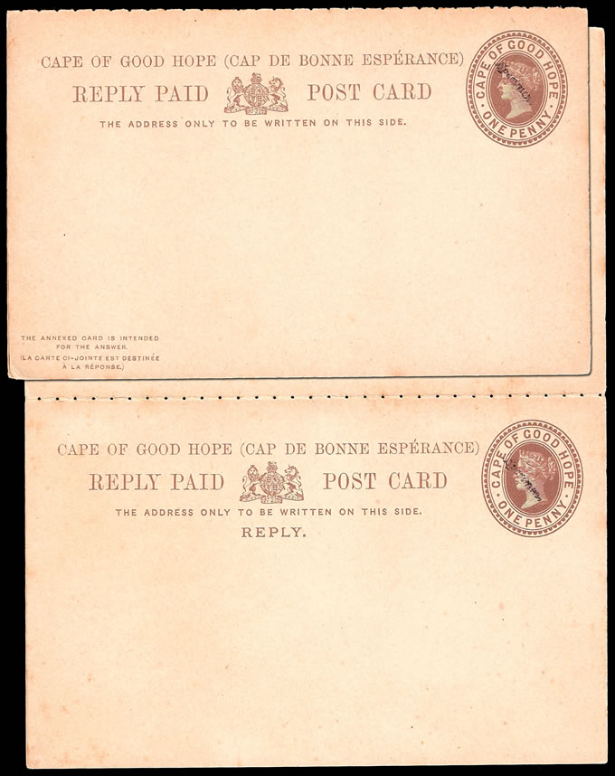 CAPE OF GOOD HOPE 1892 RARE SPECIMEN STATIONERY REPLY CARD