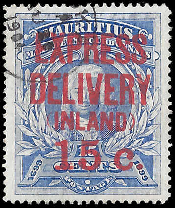 MAURITIUS EXPRESS STAMPS 1904 15C ON 15C VF/U