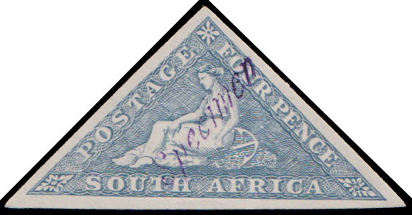 SOUTH AFRICA 1926 4D TRIANGLE RHODESIA RECEIVING AUTH SPECIMEN
