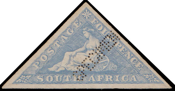 SOUTH AFRICA 1926 4D TRIANGLE IMPERF PRINTERS SAMPLE IN GREYBLUE