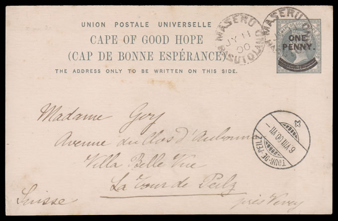 BASUTOLAND 1900 CAPE 1D OVPT DOUBLED CARD FROM MASERU