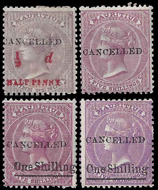 "MAURITIUS 1878 REMAINDERS ""CANCELLED"", GROUP OF 4"