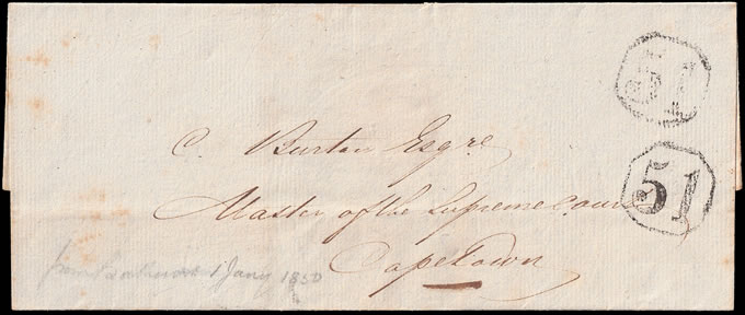 CAPE OF GOOD HOPE 1850 RARE OCTAGONAL 51 DOUBLE STRIKE