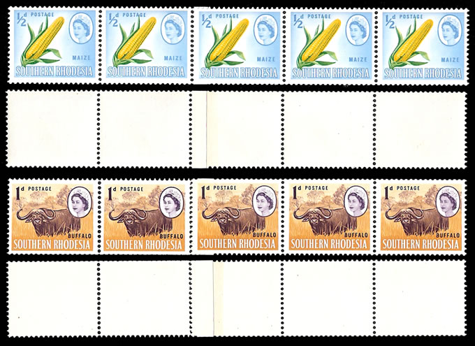 Southern Rhodesia 1964 ½d & 1d Coil Strips with Joins UM