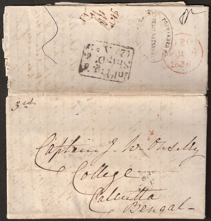 CAPE OF GOOD HOPE 1836 RARE THOMSON WATSON FORWARDING AGENT