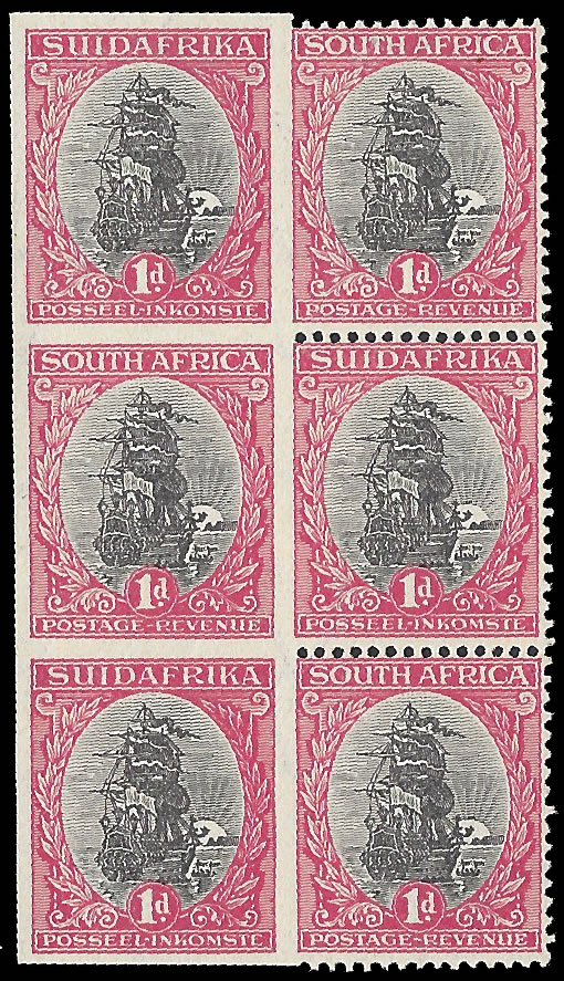 SOUTH AFRICA 1926 1D SPECTACULAR BLOCK LEFT STAMPS IMPERF