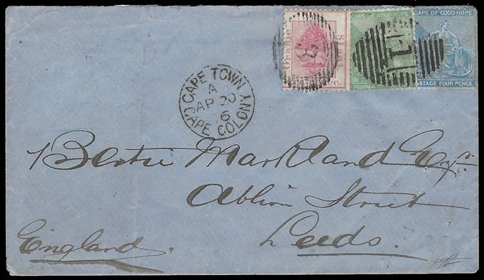 ORANGE FREE STATE 1876 OFS/CAPE MULTICOLOUR COMBINATION, RARE