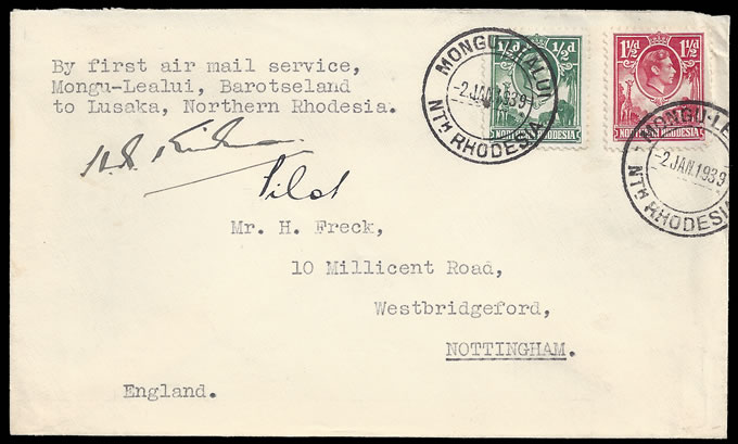 Northern Rhodesia 1939 Barotseland Airmails Signed Flight Cover