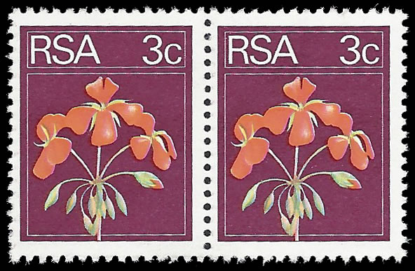 SOUTH AFRICA 1974 3C GERANIUM MAROON COLOUR OMITTED PAIR