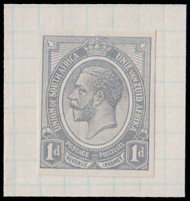 SOUTH AFRICA 1913 KGV 1D IMPERF MONOCOLOUR TRIAL, GREY