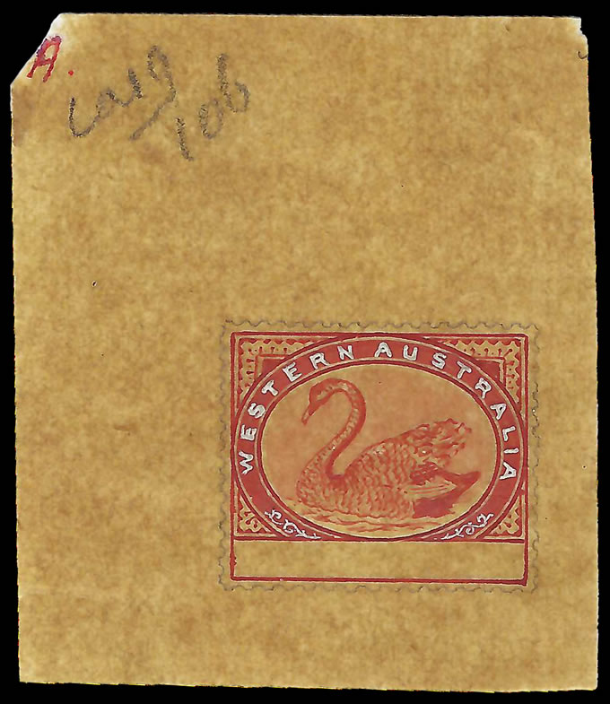 WESTERN AUSTRALIA 1885 SWAN BEAUTIFUL DLR HANDPAINTED ESSAY