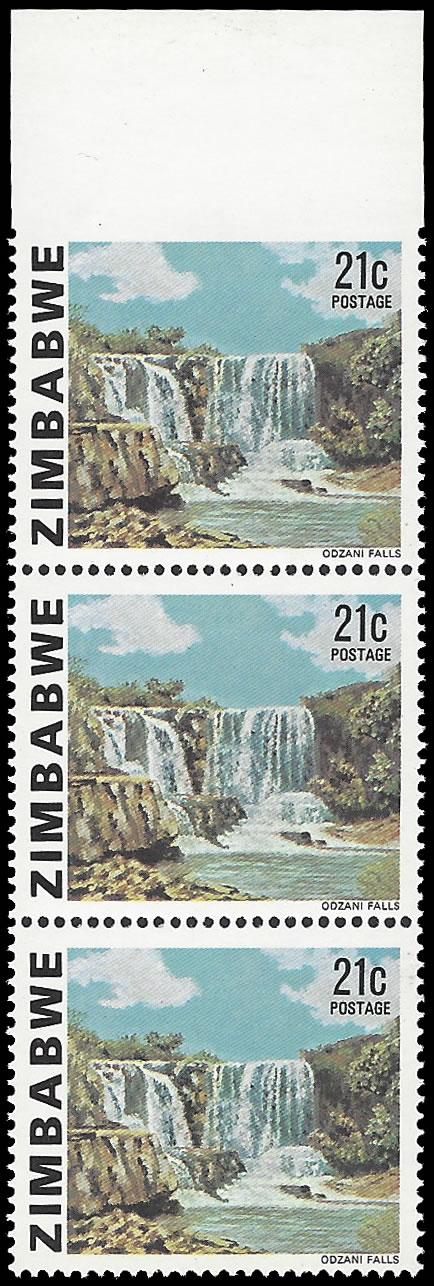 Zimbabwe 1980 21c Odzani Falls Imperf Stamp to Top Margin, Rare