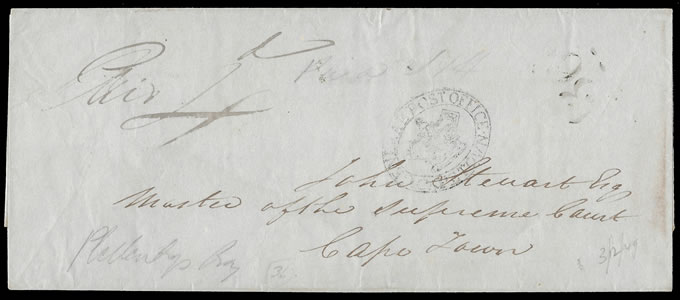 CAPE OF GOOD HOPE 1849 OCTAGONAL 36 PLETTENBERG BAY, RARE
