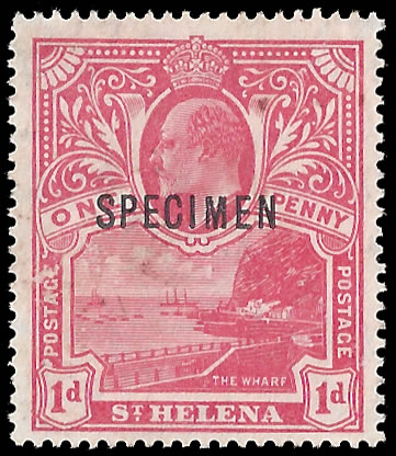 SAINT HELENA 1911 SPECIMEN OF THE UNISSUED KEVII 1D RED