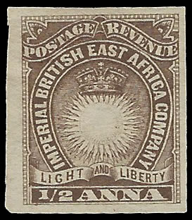BRITISH EAST AFRICA 1890 ½A IMPERFORATE
