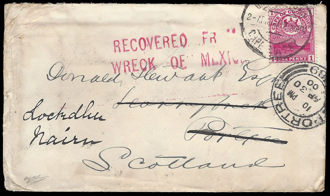 CAPE OF GOOD HOPE 1900 RARE MEXICAN WRECK SALVAGED LETTER