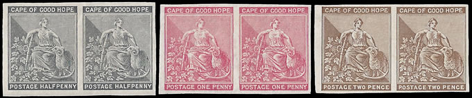 CAPE OF GOOD HOPE 1882 -83 IMPERF PLATE PROOFS, RARE.