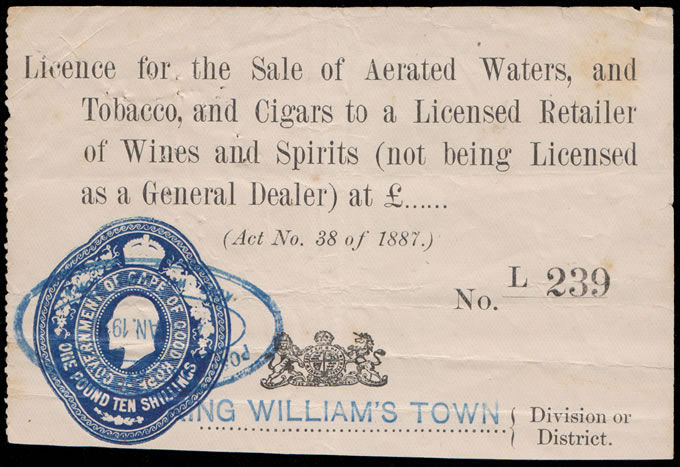 CAPE OF GOOD HOPE 1910 LICENSE FOR AERATED WATERS, TOBACCO ETC