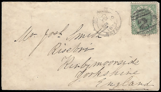 Natal 1873 QV 1/- Small Format Letter to England