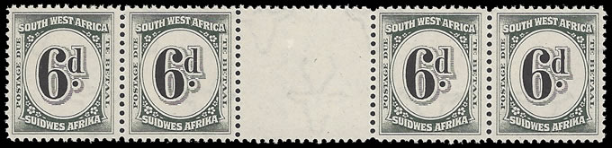SOUTH WEST AFRICA POSTAGE DUE 1931 6D INTERPANNEAU STRIP UM