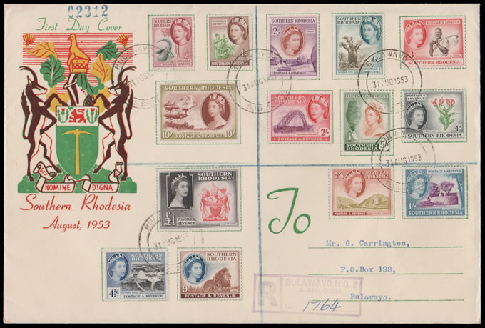 SOUTHERN RHODESIA 1953 QEII DEFINITIVES ON FDC