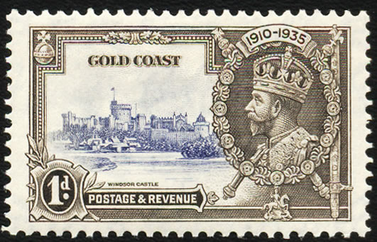 GOLD COAST 1935 SILVER JUBILEE 1D EXTRA FLAGSTAFF VF/M