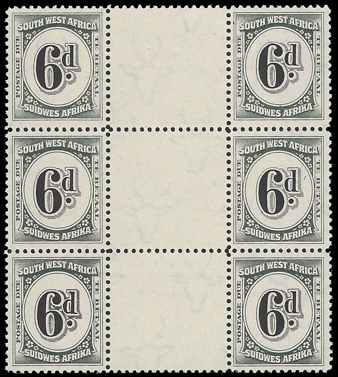 SOUTH WEST AFRICA POSTAGE DUE 1931 6D INTERPANNEAU BLOCK UM