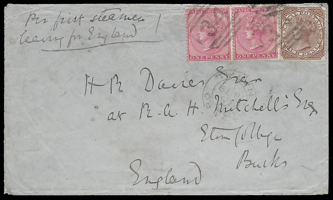 NATAL 1879 DUNDEE SHIELD TYPE L1 NUMERAL 34 LETTER