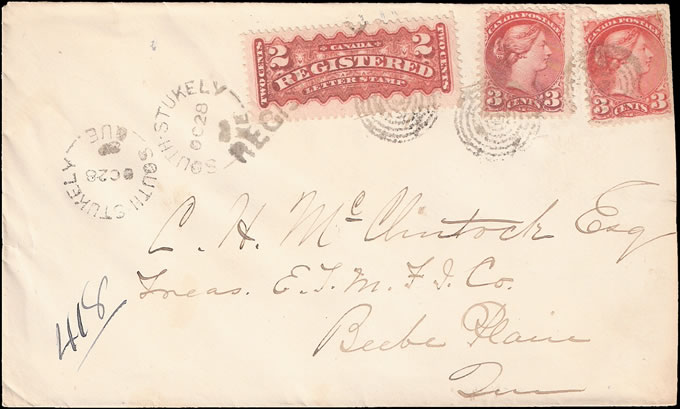 CANADA 1889 ATTRACTIVE REGISTERED LETTER