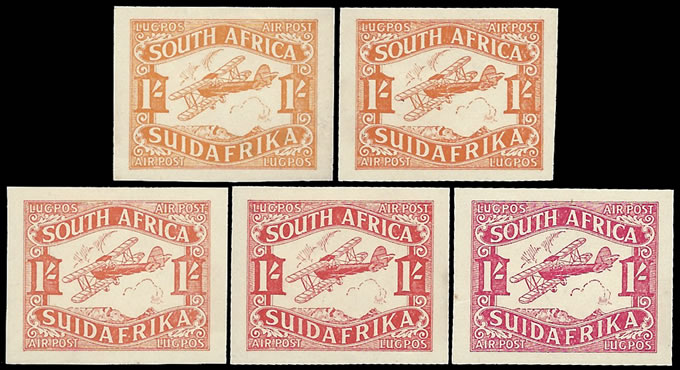 SOUTH AFRICA 1929 AIRMAILS 1/- PLATE PROOFS ON CHART, FULL SET