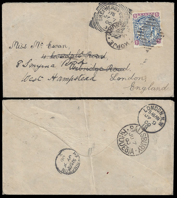 Rhodesia 1900 4d Arms on Letter to England