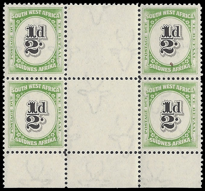 SOUTH WEST AFRICA POSTAGE DUE 1931 ½D INTERPANNEAU BLOCK