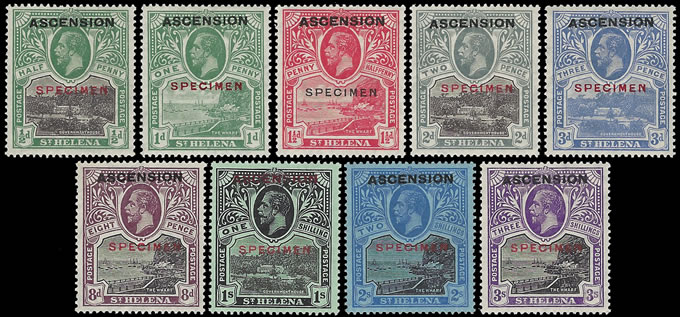ASCENSION 1922 KGV ½D - 3/- FULL SET SPECIMENS, SUPERB