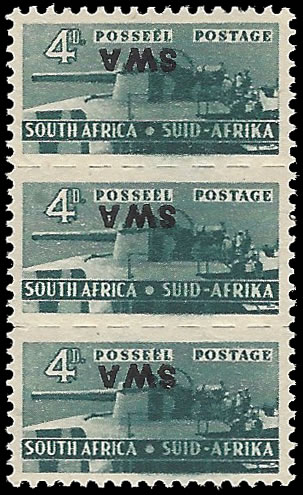 SOUTH WEST AFRICA 1943 4D SMALL WARS OVERPRINT INVERTED UM