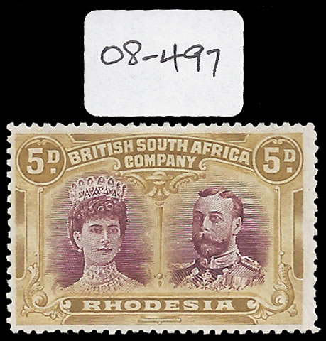 Rhodesia 1910 5d Error of Colour VF/M with Cert