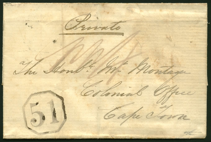 CAPE OF GOOD HOPE 1851 BATHURST OCTAGONAL 51 ON LETTER