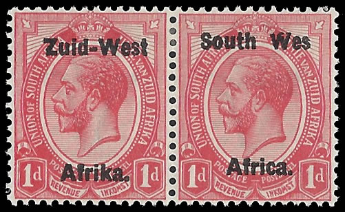 "SOUTH WEST AFRICA 1923 KGV 1D ""WES"" FOR ""WEST"" VF/M WITH CERT"
